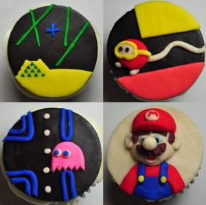Video Game Cupcakes - Mario, Pacman, Dig Dug, Missile Command.