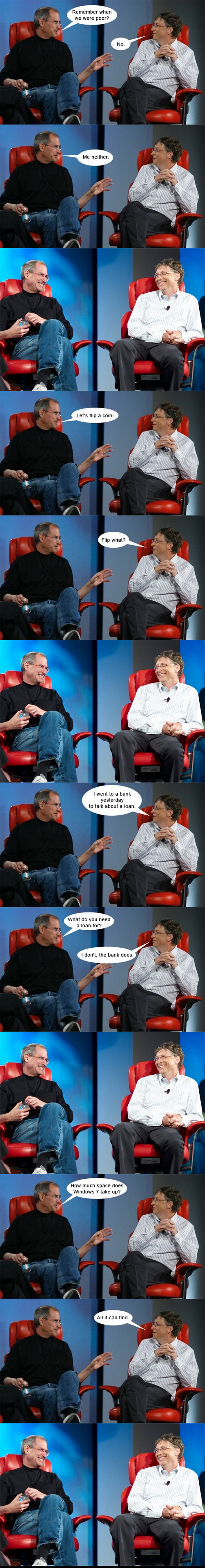 Funny Picture: Bill Gates and Steve Jobs Talking