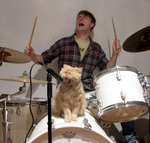 Drummer With Cat Screaming in Microphone